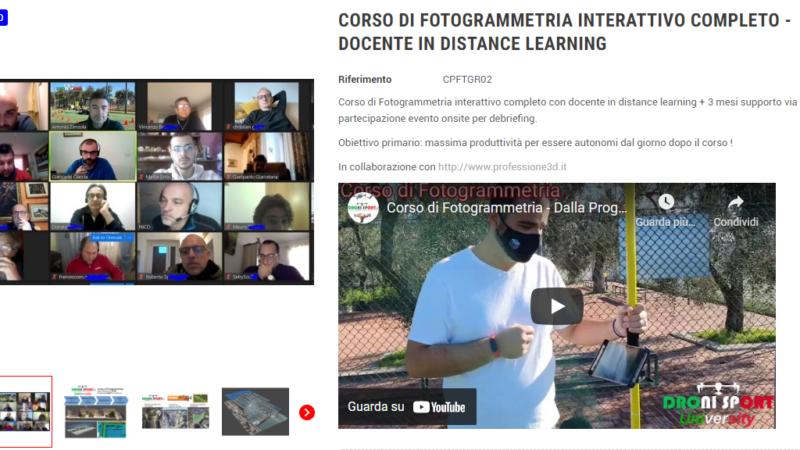 CORSO DI FOTOGRAMMETRIA INTERATTIVO COMPLETO DOCENTE IN DISTANCE LEARNING